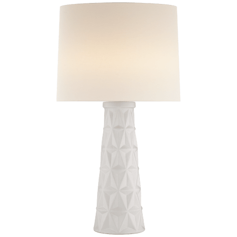 Aligre Table Lamp in White with Linen Shade