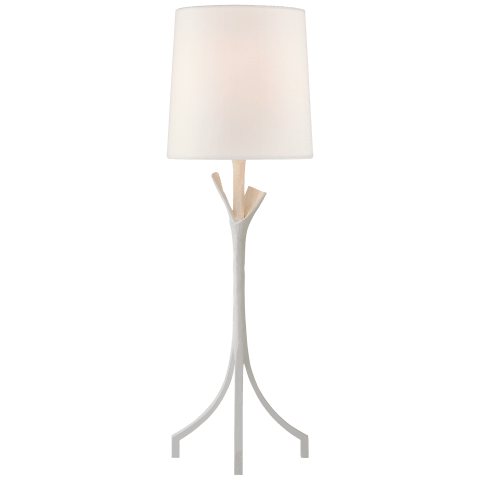 Fliana Table Lamp in Plaster White with Linen Shade