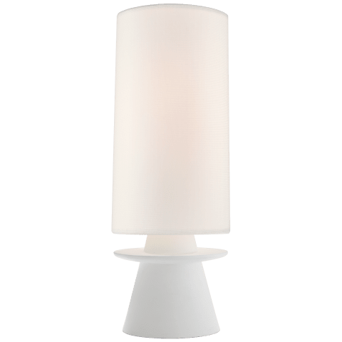 Livia Small Table Lamp in Plaster White with Linen Shade