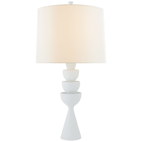 Veranna Large Table Lamp in Plaster White with Linen Shade