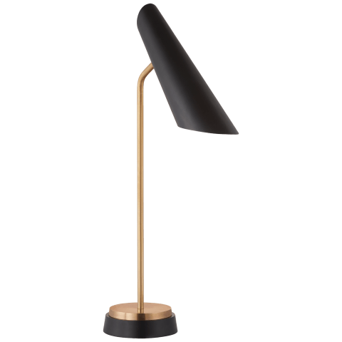 Franca Single Pivoting Task Lamp in Hand-Rubbed Antique Brass with Black Shade