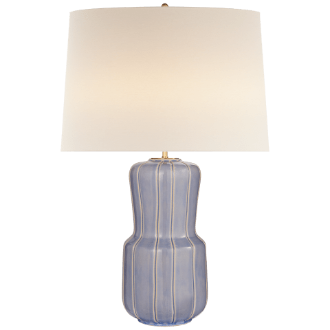 Aumar Large Table Lamp in Polar Blue Crackle with Linen Shade