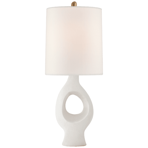 Capra Medium Table Lamp in Marion White with Linen Shade