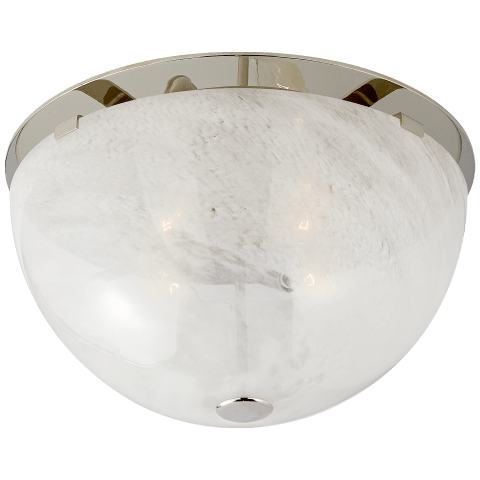 Serein Medium Flush Mount in Polished Nickel with White Strie Glass
