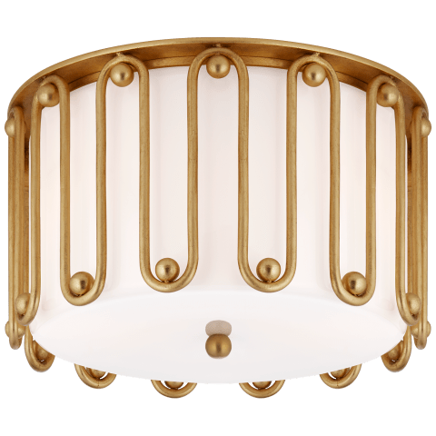 Molene Medium Flush Mount in Gild with White Glass