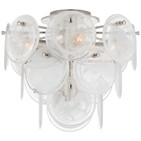 Loire Medium Tiered Flush Mount in Polished Nickel with White Strie Glass
