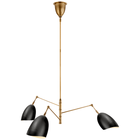 Sommerard Medium Triple-Arm Chandelier in Hand-Rubbed Antique Brass with Black Shades