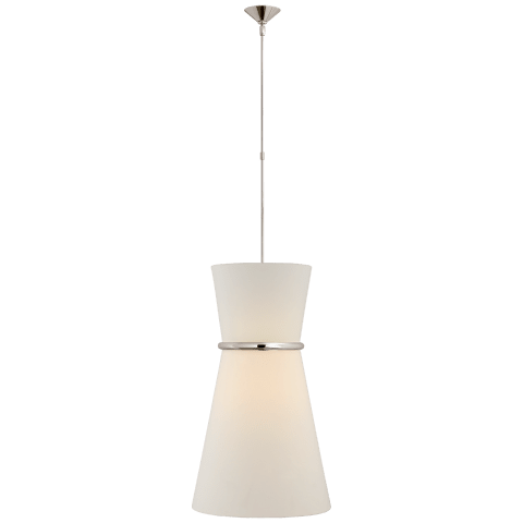 Clarkson Large Single Pendant in Polished Nickel with Linen Shade