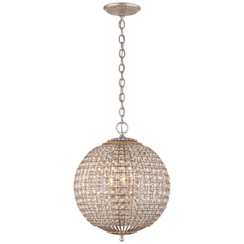 Renwick Small Sphere Chandelier in Burnished Silver Leaf with Crystal