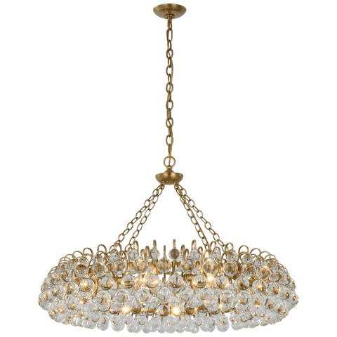 Bellvale Large Ring Chandelier in Hand-Rubbed Antique Brass with Crystal