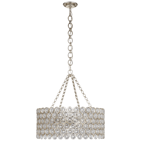 Lesina Chandelier in Burnished Silver Leaf with Crystal