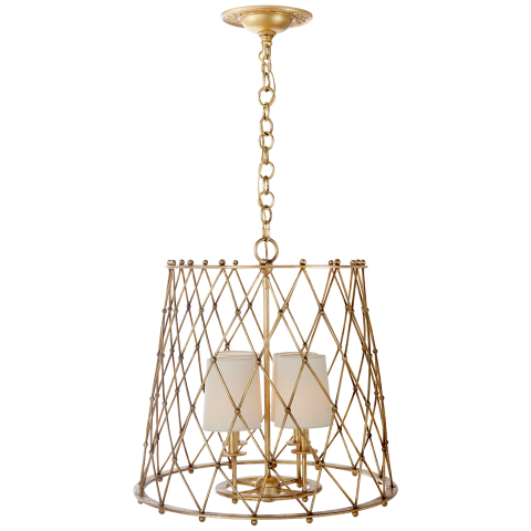 Edgerly Large Woven Lantern in Gilded with Linen Shades