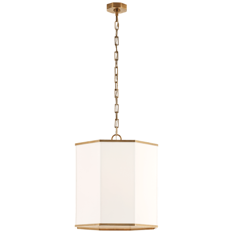 Laban Hanging Shade in Hand-Rubbed Antique Brass and Linen