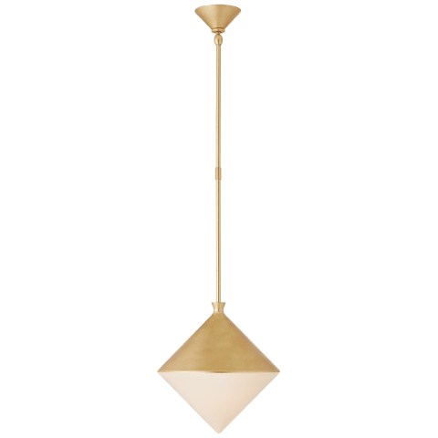 Sarnen Small Pendant in Gild with White Glass
