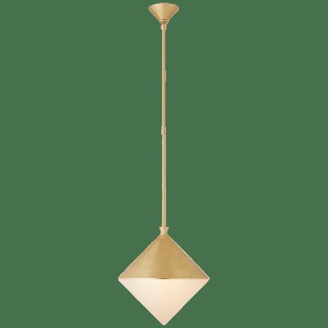 Sarnen Medium Pendant in Gild with White Glass