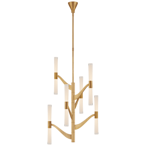 Brenta Medium Tall Chandelier in Hand-Rubbed Antique Brass with White Glass