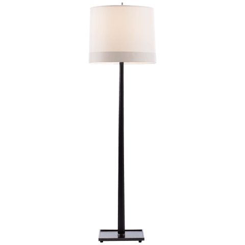 Octagon Floor Lamp in Walnut with Silk Shade