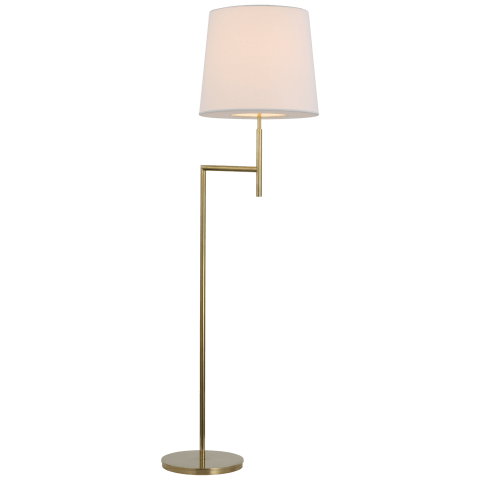 Clarion Bridge Arm Floor Lamp in Soft Brass with Linen Shade