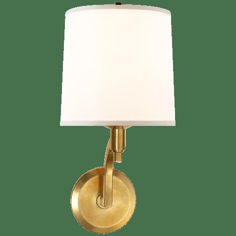 Westport Sconce in Soft Brass with Silk Shade