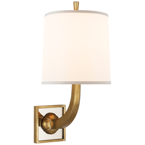 Petal Sconce in Soft Brass and Bronze Mirror with Silk Shade