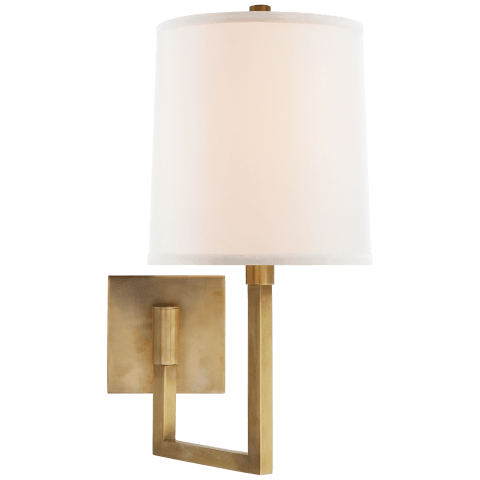 Aspect Small Articulating Sconce in Soft Brass with Ivory Linen Shade