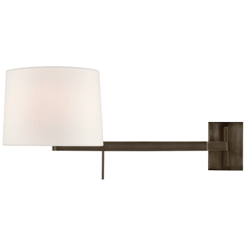 Sweep Medium Right Articulating Sconce in Bronze with Linen Shade