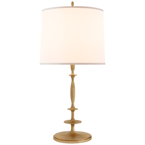 Lotus Table Lamp in Gilded Finish with Silk Shade