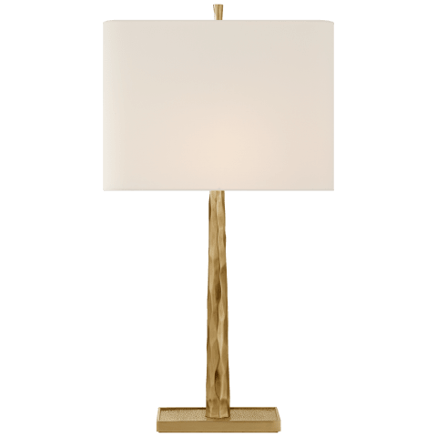 Lyric Branch Table Lamp in Bronze with Linen Shade
