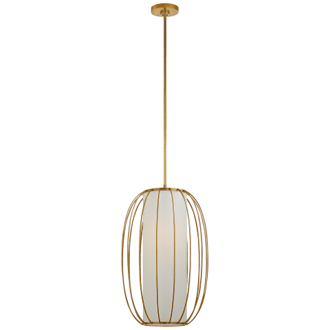 Carousel Medium Oblong Lantern in Soft Brass with Linen Shade