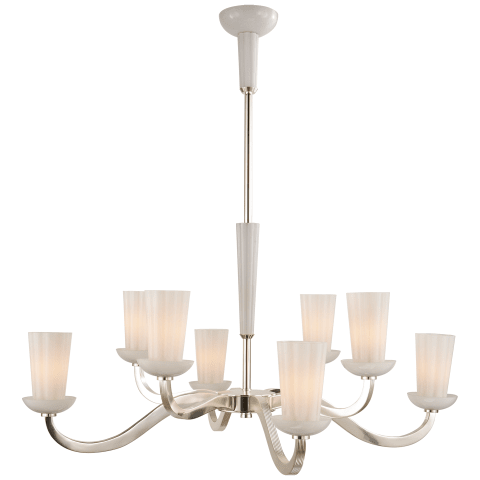 All Aglow Large Chandelier in Soft Silver with White Glass