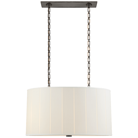 Perfect Pleat Oval Hanging Shade in Soft Brass with Silk Shade