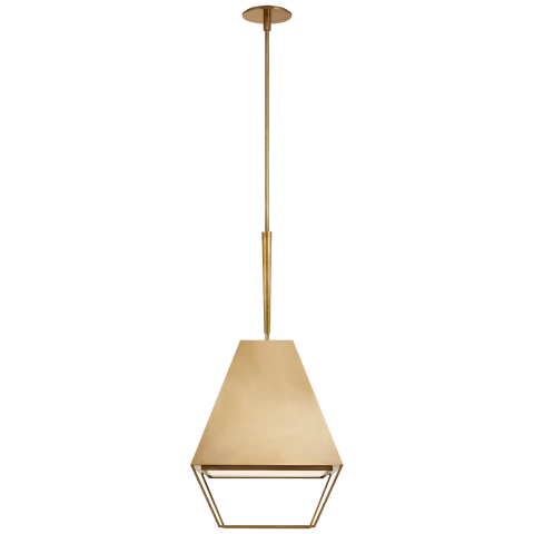 Odeum Medium Lantern in Soft Brass with Frosted Acrylic Diffuser