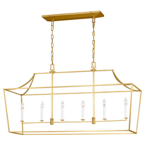 Southold 6 - Light Linear Lantern Burnished Brass