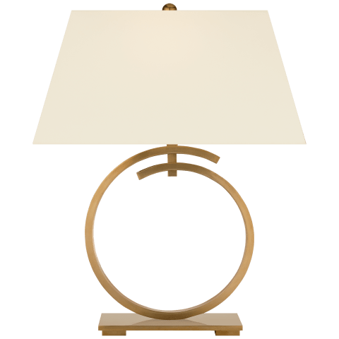 Launceton Large Ring Table Lamp in Antique- Burnished Brass with Natural Percale Shade
