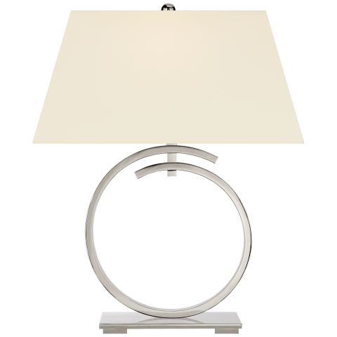 Launceton Large Ring Table Lamp in Polished Nickel with Natural Percale Shade