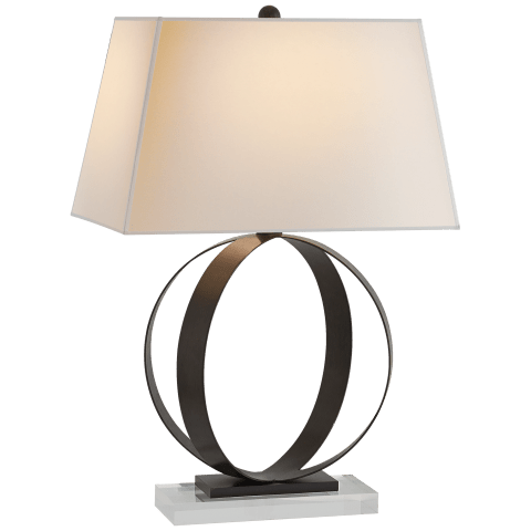 Rings Table Lamp in Gilded Iron with Natural Paper Shade