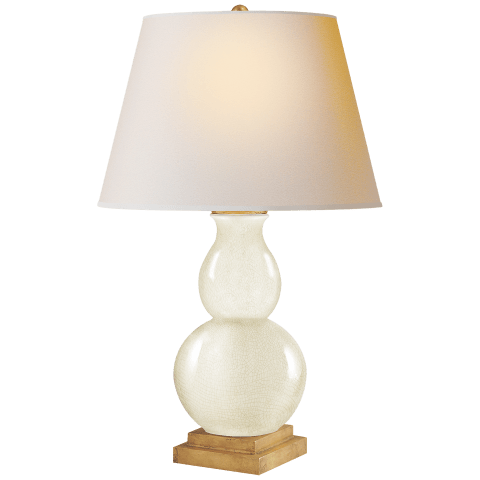 Gourd Form Small Table Lamp in Tea Stain with Natural Paper Shade