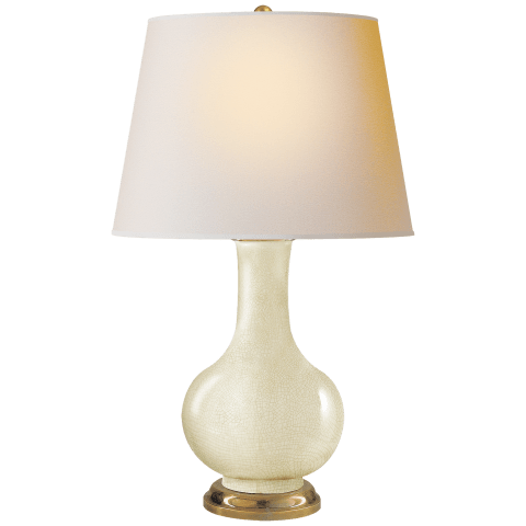 Narrow Neck Vase Large Table Lamp in Tea Stain with Natural Paper Shade