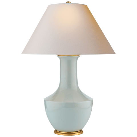 Lambay Table Lamp in Ice Blue with Natural Paper Shade