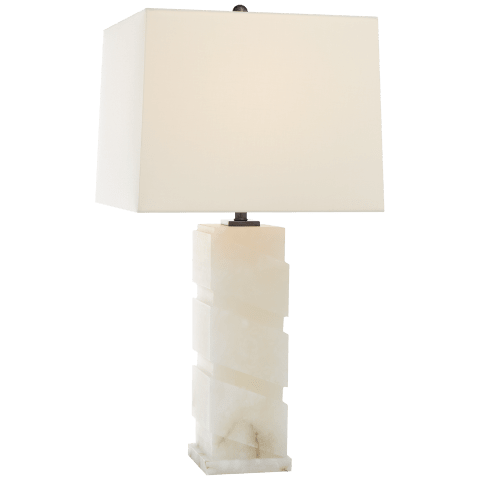 Bias Column Large Table Lamp in Alabaster with Linen Shade
