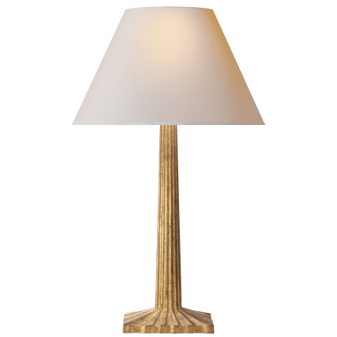 Strie Fluted Column Table Lamp in Gilded Iron with Natural Paper Shade