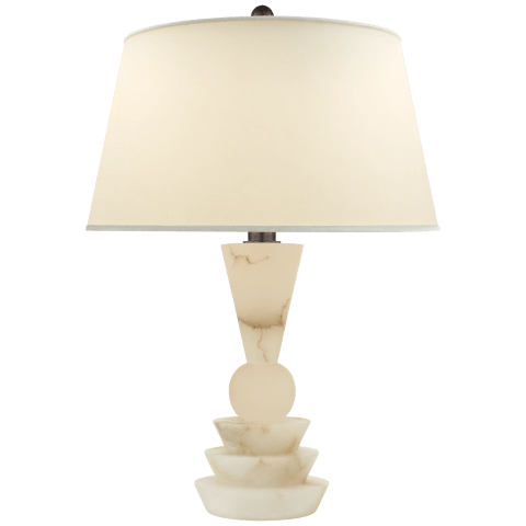 Holden Medium Table Lamp in Alabaster with Natural Percale Shade