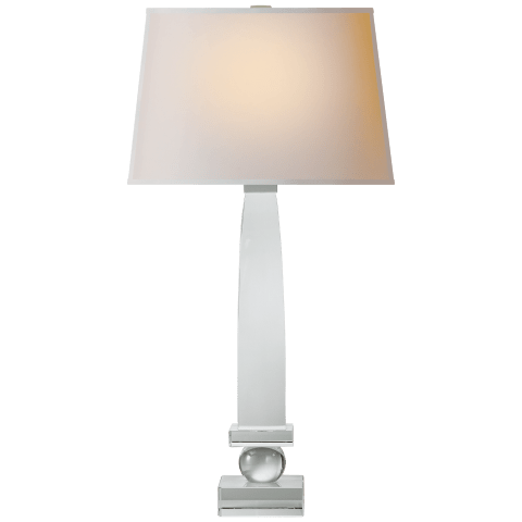 Entarsus Square Obelisk Table Lamp in Crystal with Natural Paper Shade