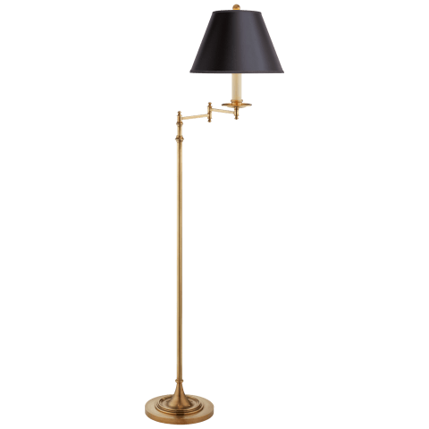 Dorchester Swing Arm Floor Lamp in Antique-Burnished Brass with Black Shade