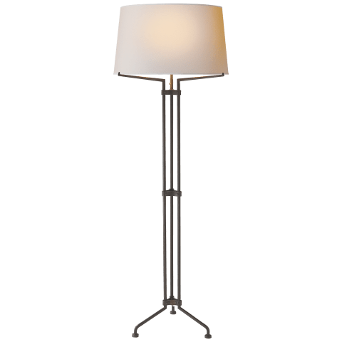 Terrazo Tri-Leg Floor Lamp in Aged Iron with Natural Paper Shade