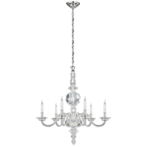 George II Large Faceted Chandelier in Crystal with Polished Nickel