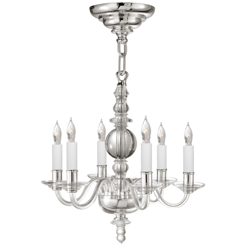 George II Mini Chandelier in Crystal with Polished Nickel