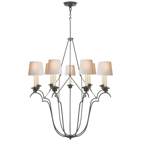 Belvedere Chandelier In Aged Iron with Natural Paper Shades