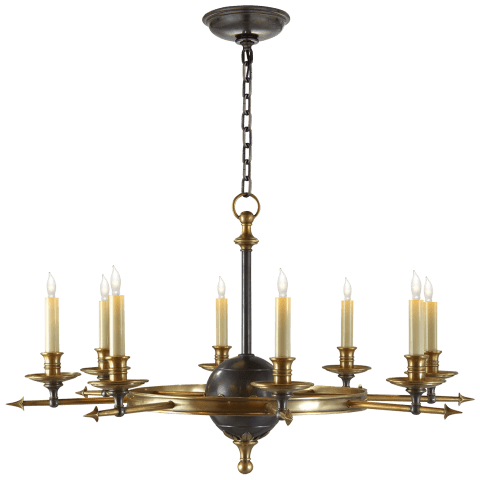 Leaf and Arrow Large Chandelier in Bronze with Antique-Burnished Brass