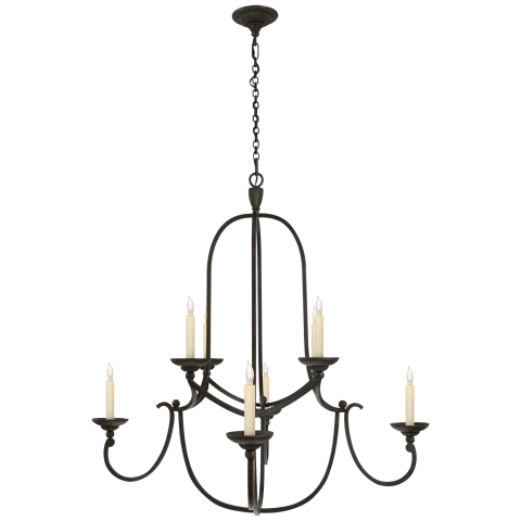 Flemish Medium Round Chandelier in Aged Iron